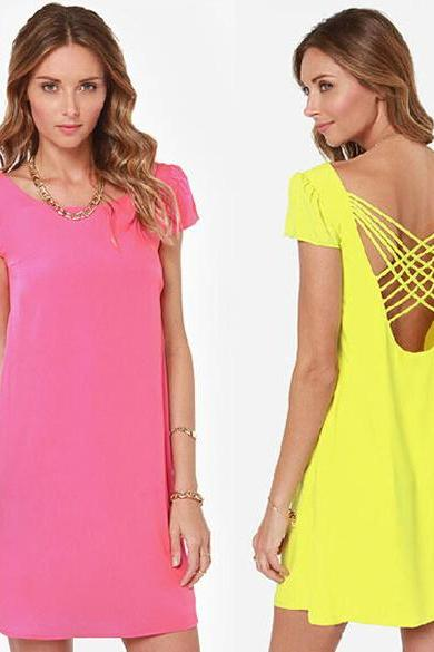 Fashion Girls Summer Solid Color Cute Chiffon Open Back Hollow Puff Short Sleeve Dress
