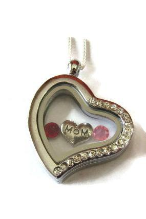 MOM Heart Floating Locket - Memory Locket