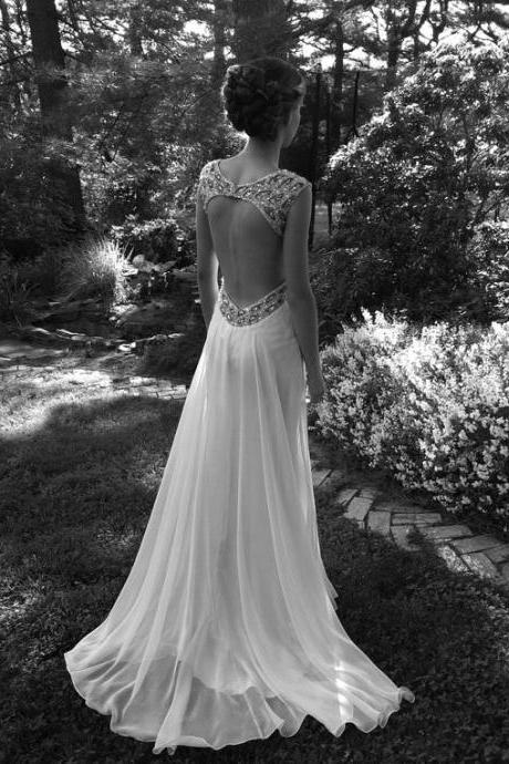 A line Custom Backless Ivory Wedding Dresses, Long Backless Prom Dresses, Bridal Dresses, Evening Dresses, Formal Dresses