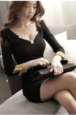 The New V-Neck Sexy Fashion Cultivate One's Morality Package Hip Skirt Waist Dress