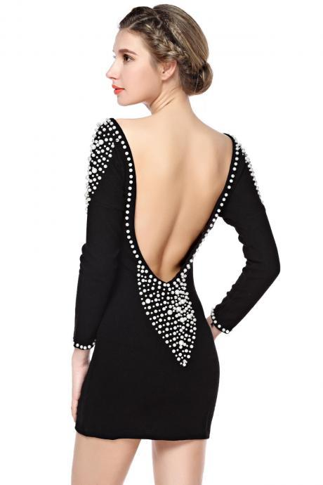 Sequins Long Sleeve Backless Dress