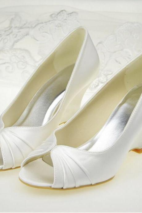 New Arrival White Satin Wedges Wedding Shoes,Open Pointed Toe Two Piece Bridal Shoes, Fashion Slip-On High Heel Pumps,wedding shoes