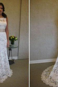 Custom lace wedding dress wedding gown with beautiful white/ivory wedding dress open back wedding dress