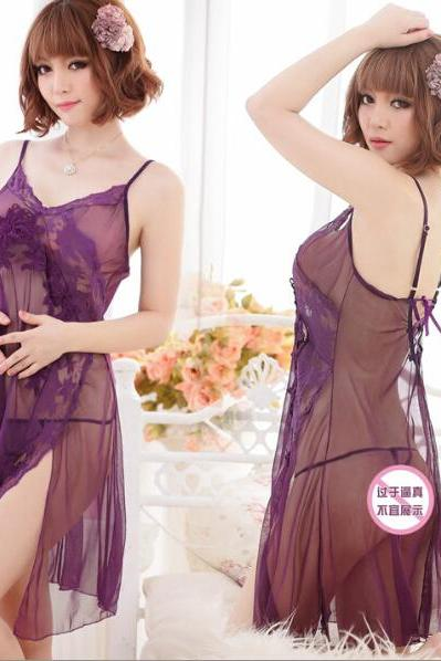 Sexy Pyjamas Sleepwear Underwear set lace mesh dress+T pants uniform crazy set Free Shipping 1004
