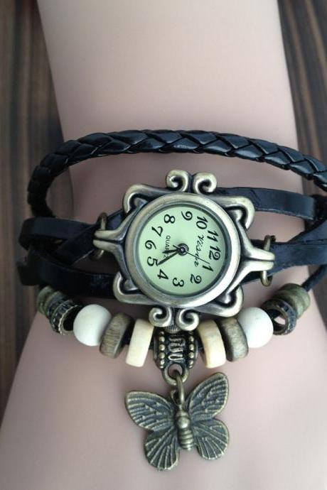 Handmade Vintage Real Leather Strap With Butterfly Decorated Watches Woman Girl Quartz Wrist Watch Bracelet Watch Black