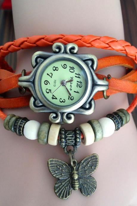 Handmade Vintage Real Leather Strap With Butterfly Decorated Watches Woman Girl Quartz Wrist Watch Bracelet Orange