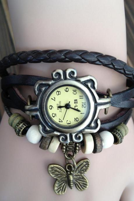 Handmade Vintage Real Leather Strap With Butterfly Decorated Watches Woman Girl Quartz Wrist Watch Bracelet Brown