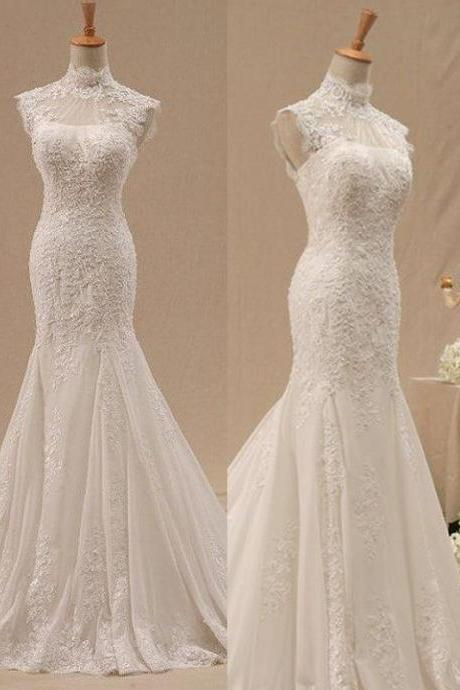 Wd148 Elegant Wedding Dress High Neck Wedding Dress Lace Wedding Dress