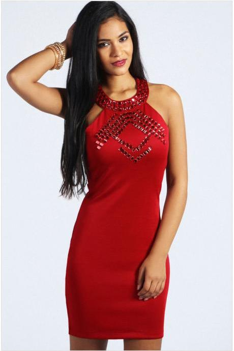 Women Red Stylish Halter Scarlet Gem Detail Party Club Bodycon Mini Dresses