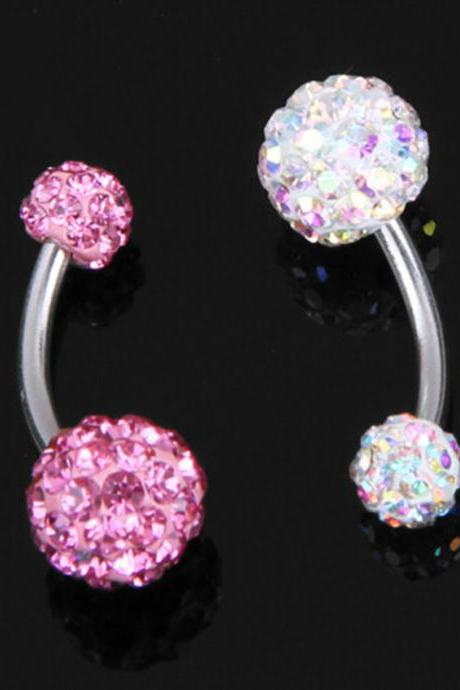 Colorful Navel Belly Button Bar Ring Barbell Crystal Ball Body Piercing