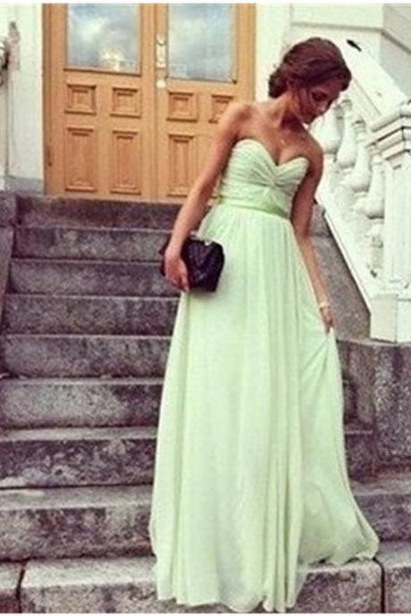 Custom Made A Line Sweetheart Neck Sage Long Prom Dresses 2015, Long Bridesmaid Dresses, Wedding Party Dresses, Dresses for Wedding Party