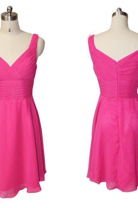 In stock hot pink chiffon V neck short bridesmaid dresses,pleat short prom dress,knee length homecoming dress,cocktail dresses