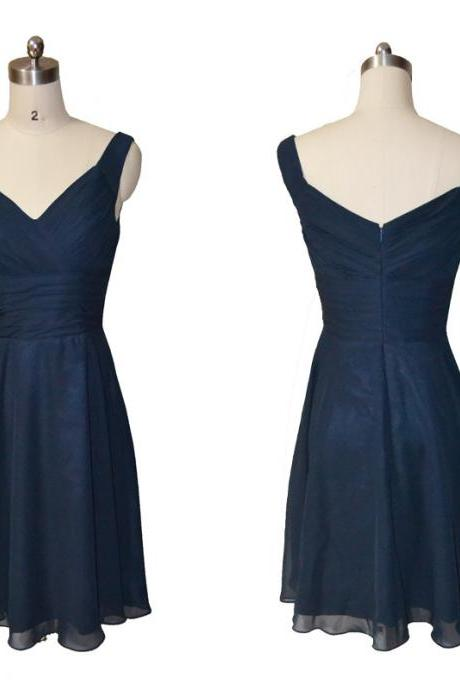 Ready to ship navy blue cheap chiffon dress,short pleat prom dress,knee length bridesmaid dress,v neck simple evening party dress,homecoming dress