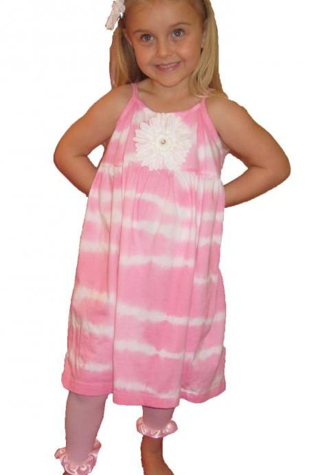 Pink tye dye Gerber Daisy Girls Summer Dress