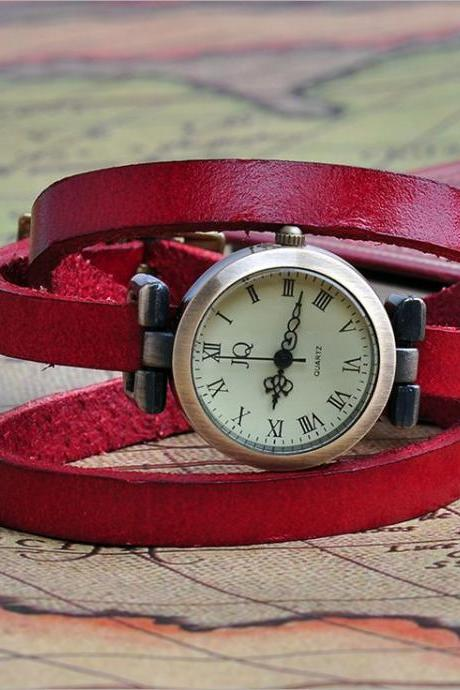 Wrap Bracelet red Leather Strap Girl Watch