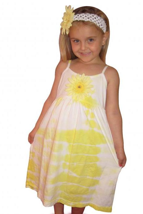 Yellow tye dye Gerber Daisy Girls summer dress!