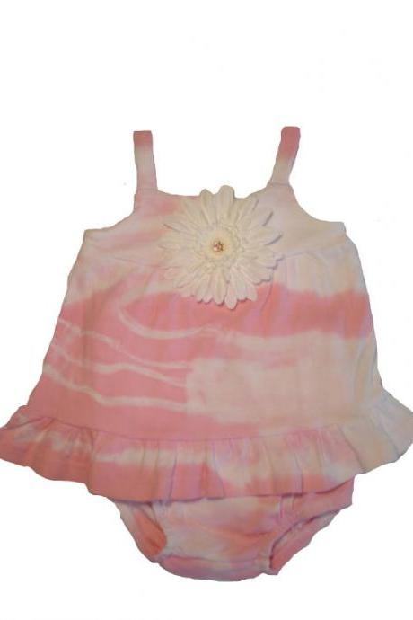Pink tye dye 2 pc Gerber Daisy Baby girl Bloomer set