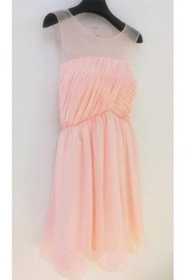 Lovely Light Pink Chiffon Knee Length Bridesmaid Dresses with Lace up. Cute Short Prom Dresses, Short Bridesmaid Dresses, Homecoming Dresses, Graduation Dresses