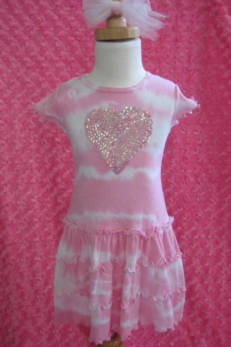 Pink Sequin Heart, girls summer dress