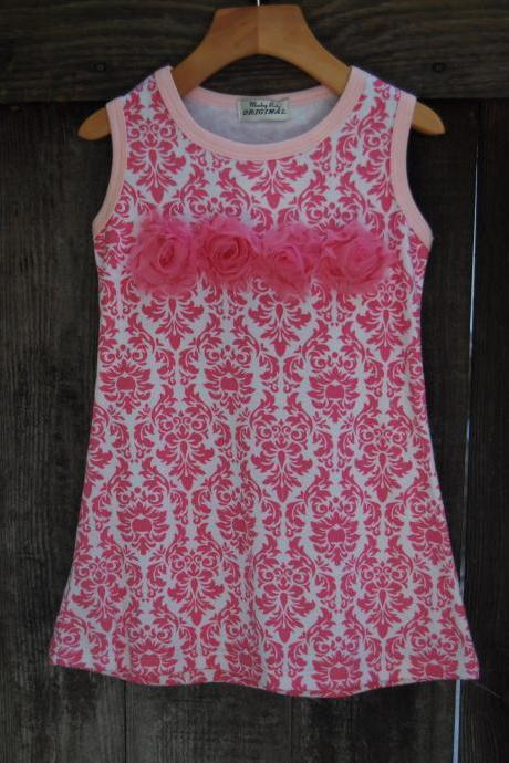 Pink Damask with Rose Girls Summer Dress
