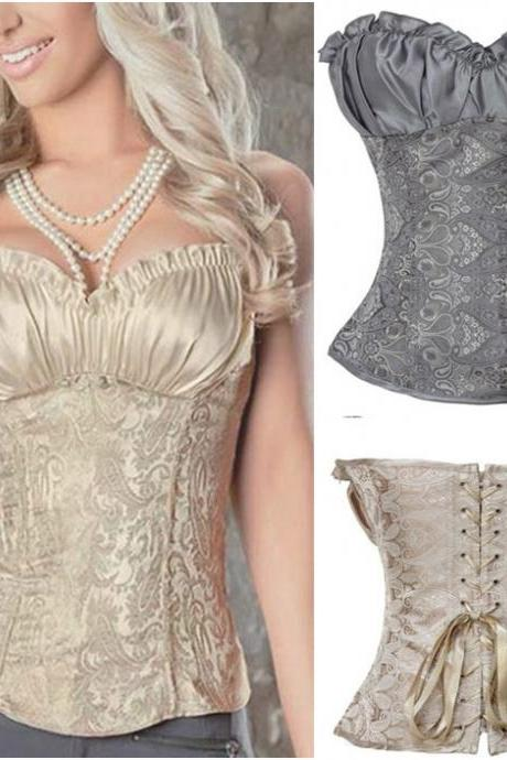 Embroidered Brocade Elegant Red White Grey Black Champagne Corset; S M L XL 2XL