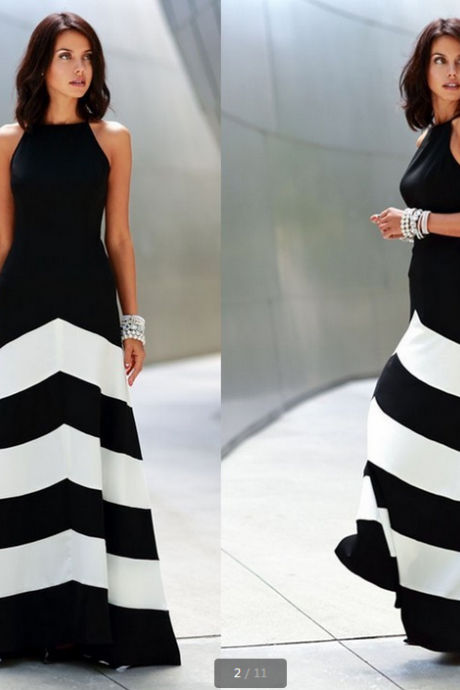 2014 new black/white striped stitching sexy long dress