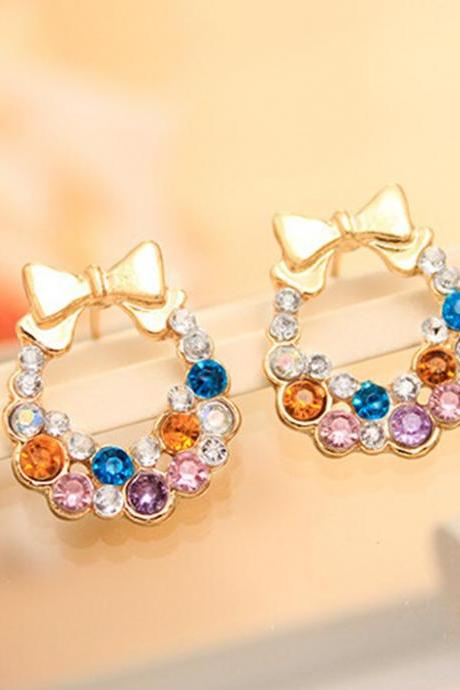 Fashion Jewelry Women Colorful Crystal Rhinestone Gold Bowknot Ear Stud Earring