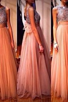 Newest Real Made Evening Dresses, Floor-Length Evening Dresses, O-Neck Evening Dresses, Chiffon Evening Dresses, Sequins and Beads Evening Dresses With Sashes, Evening Dresses For Wedding