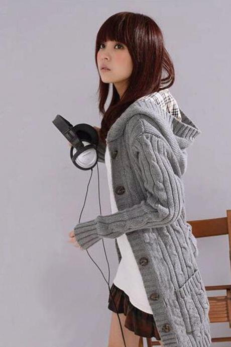 Women Lady Hooded Winter Cardigan Sweater Hoodie Coat Grey Black Beige