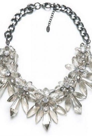 Faux Crystal Clear Flower Statement Bib Necklace