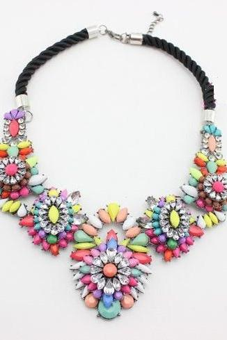Floral colorful statement jewelry evening woman necklace