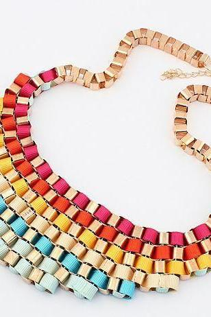 Fashion colorful statement jewelry dress evening woman necklace