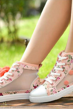 Floral Hollow Canvas Shoes-pink