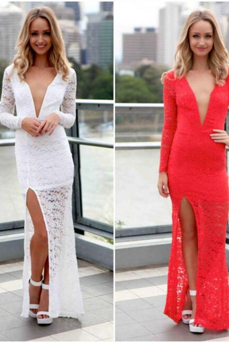 Long Sleeve Sexy V Neck Lace Dress In Red And White