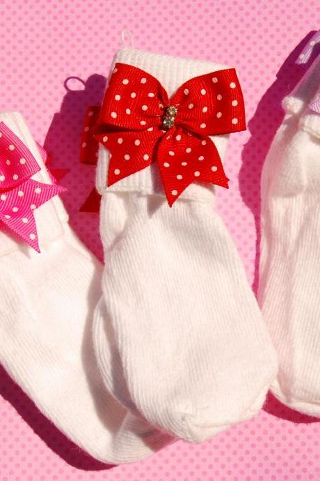 Rhinestone N Ribbon Bow Socks Girls Back To School