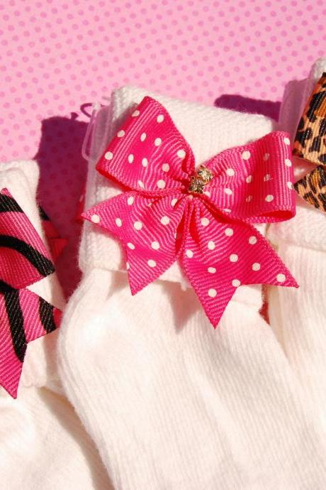Back To School Rhinestone N Bow Girls Socks