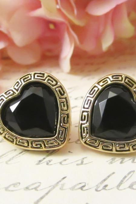 Vintage Button Earrings, Black Gem Heart Studs, Tribal Earrings, Chic Clip on, Bridesmaid Earrings, Bridal Party