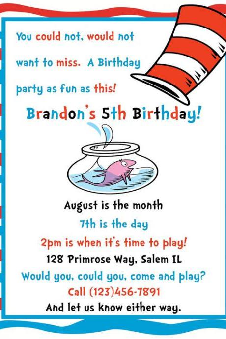 Dr Suess Inspired Invitation - Digital File