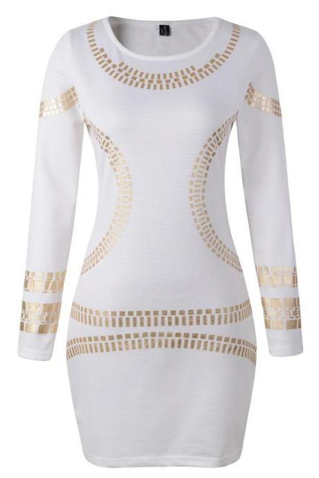 Sexy White Long Sleeve Body con Dress