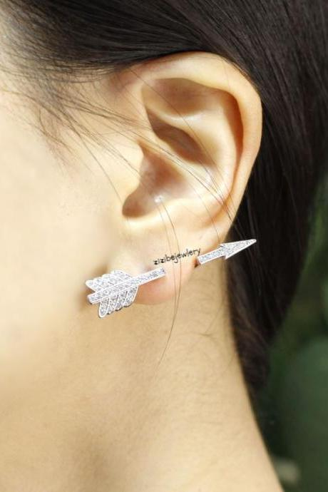 Piercing style Arrow Earcuff Stud Earrings in gold and silver, E0415S