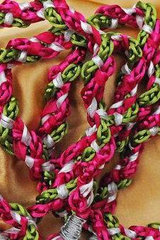 Handfasting cord in fuscia pink and lime green satin, with satin and organza trim and optional diamante heart