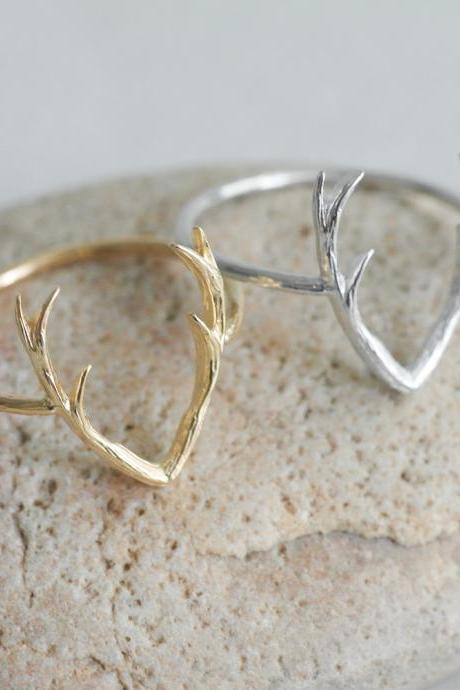 Deer Ring,Antler Ring, US SIZE 6.5
