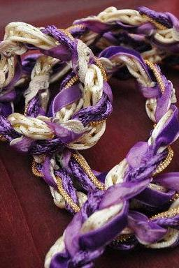 Handfasting cord in purple, gold and cream, with velvet ribbon, gold trim and gold beads