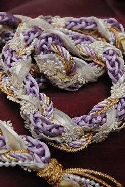 Handfasting cord in lilac and cream, with pearls, flower braid and gold trim