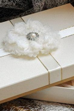 A5 Keepsake presentation gift box. Ivory card with luxury gold trimmed ribbon and plush woollen and diamante centrepiece