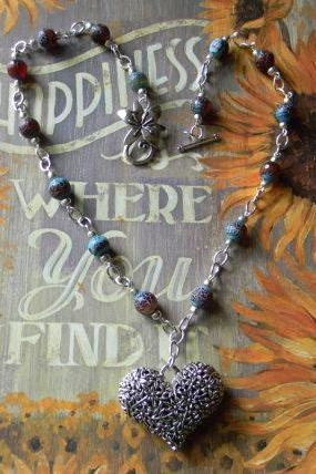 Blue/Coffee Agate Beaded Necklace with Silver Flowered Heart Pendant