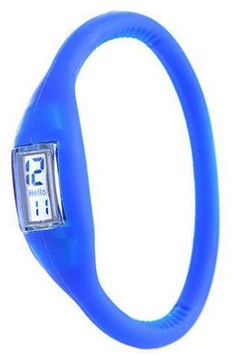 Digital blue rubber fashion cool teenage girl watch