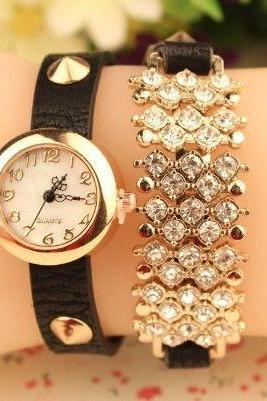 Rhinestone wrap black leather fashion woman watch