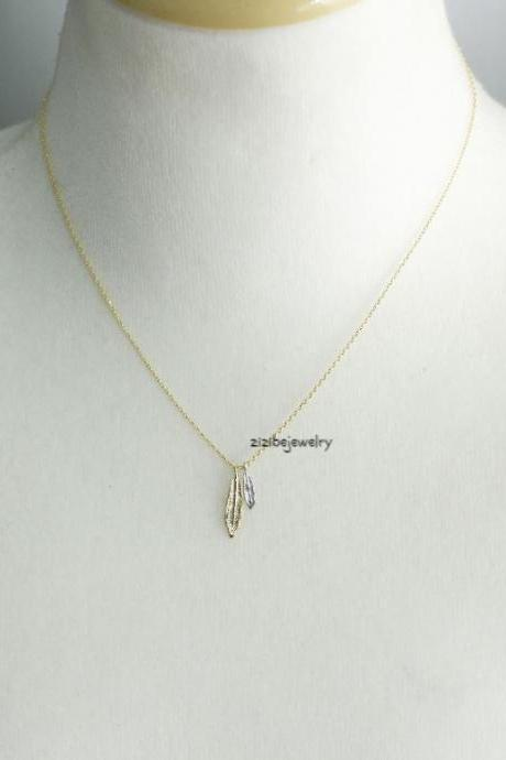 Feather Leaf Peandant Necklace in Gold / Silver, N0389K