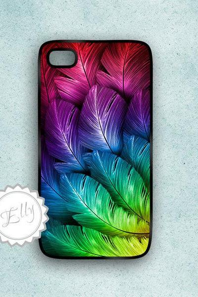 iphone 4s feathers hard case Apple colors cover